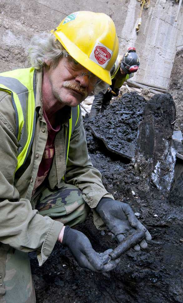 Pat Connolly with one of his finds at Bucklersbury House.