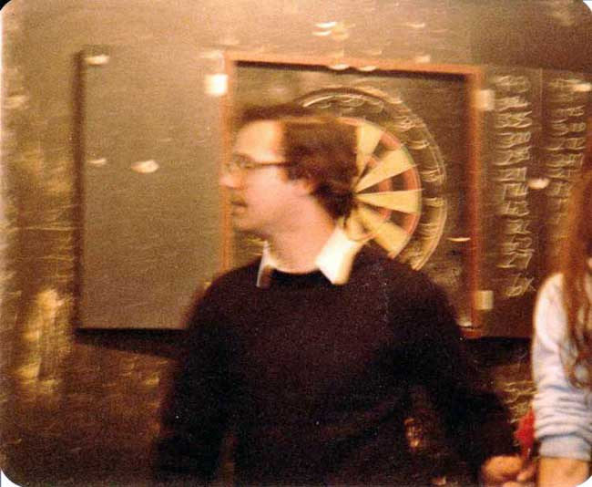 Patrick Allen at the Dartboard