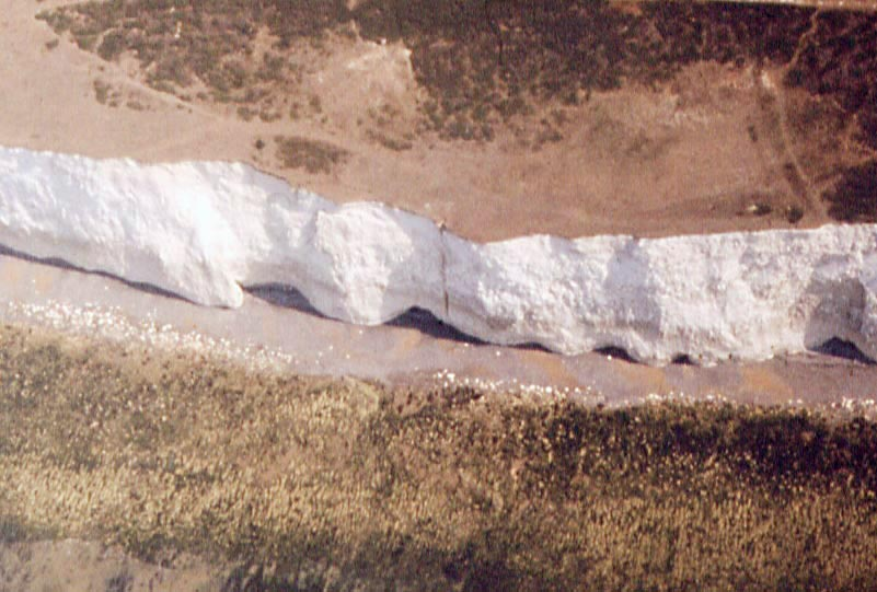Birling Gap BelleTout chalk cliff showing vertical shaft in 1976