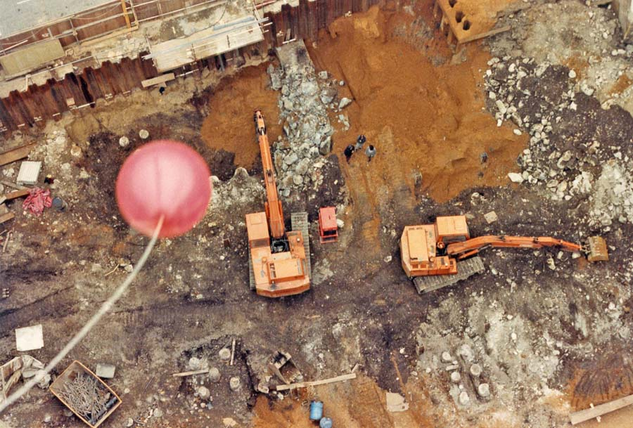 Gutter Lane ABC87 Long shot of excavation from top of crane