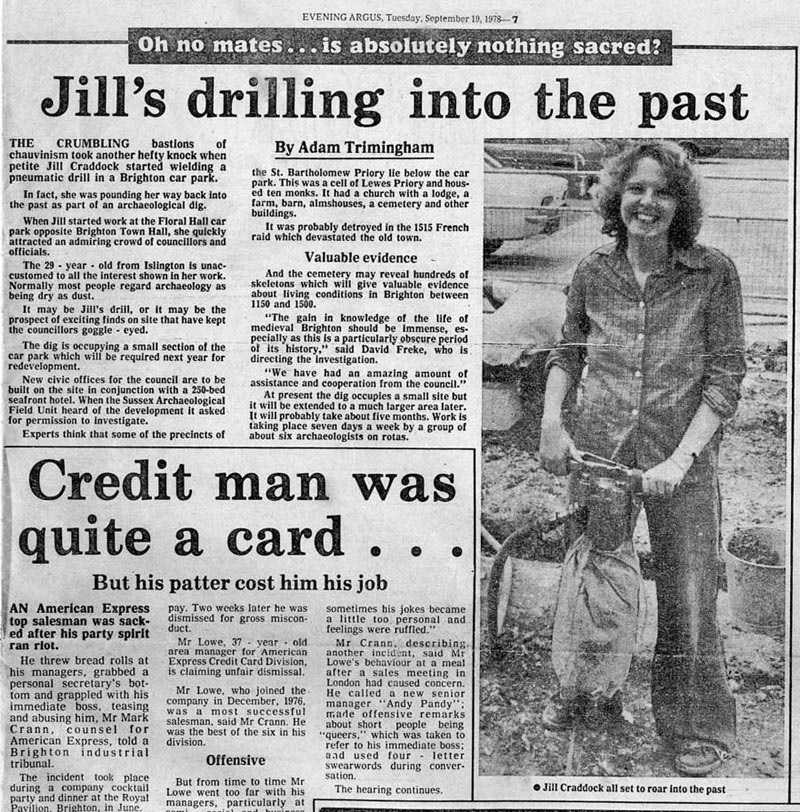 The Brighton Evening Argus of September 19th 1978, with their take on a 'petite' woman using a pneumatic drill in front of admiring   'Goggle-Eyed' councillors