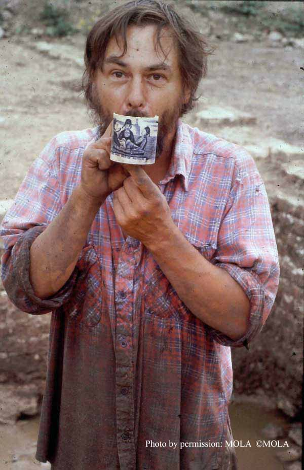 'Wise man of Gotham' Ryszard Bartkowiak, with commemorative mug     found in the moat at Low Hall